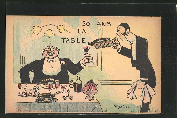 Künstler-AK sign. Moriss: Kellner schenkt einem Herrn Wein nach