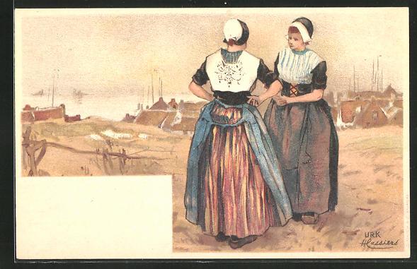 Künstler-AK Henri Cassiers: Urk, Frauen in Tracht blicken zum Hafen