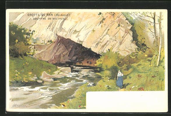 Künstler-AK Henri Cassiers: Grotte de Han, Frau beim Waldspaziergang