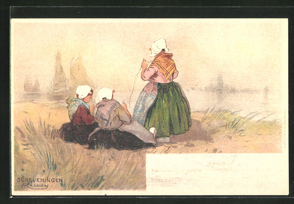 Künstler-AK Henri Cassiers: Scheveningen, Frauen am Ufer