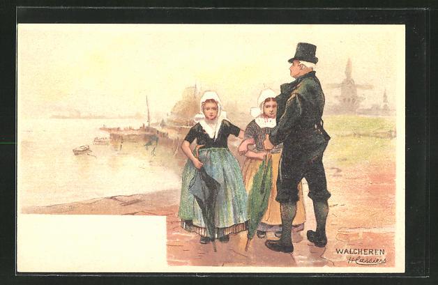 Künstler-AK Henri Cassiers: Walcheren, Mann mit seinen Töchtern im Hafen