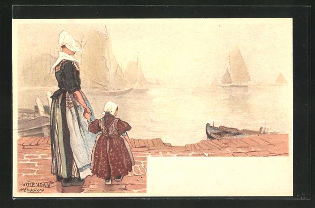 Künstler-AK Henri Cassiers: Volendam, Frau mit ihrer Tochter am Hafen