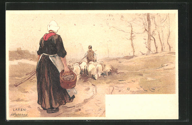 Künstler-AK Henri Cassiers: Laren, Bäuerin mit Schafherde
