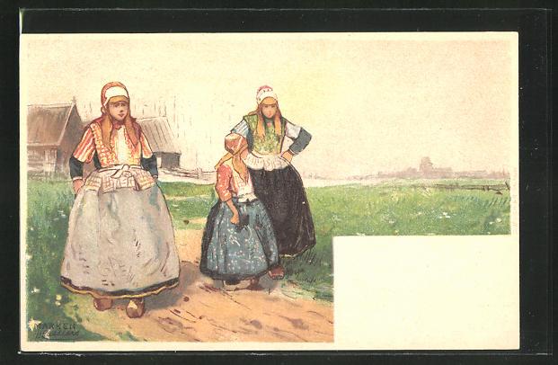 Künstler-AK Henri Cassiers: Marken, Mädchen beim Spaziergang