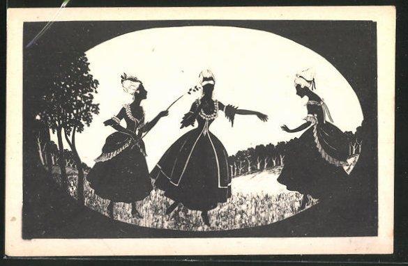 Künstler-AK Manni Grosze: Damen mit Rokkoko-Kostümen auf der Wiese