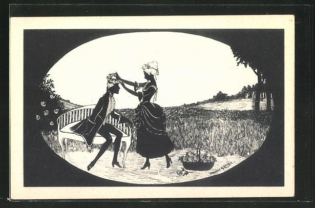 Künstler-AK Manni Grosze: Dame legt einem Herrn einen Blumenkranz auf den Kopf