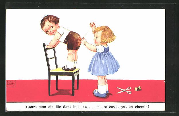 Künstler-AK John Wills: Mädchen flickt einem Jungen den zerissenen Hosenboden