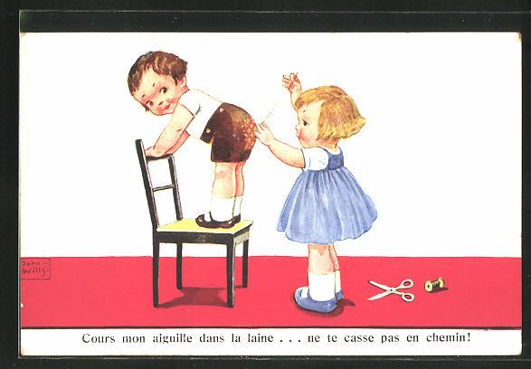 Künstler-AK John Wills: Mädchen flickt den Hosenboden eines Jungen