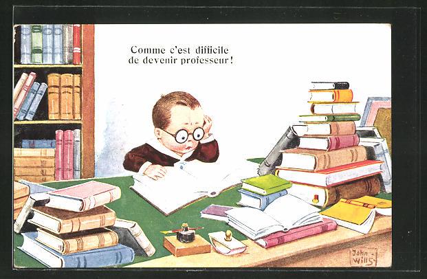 Künstler-AK John Wills: Kleiner Junge mit Brille bei der Lektüre