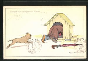 Künstler-AK sign. Felicien Philipp: Hund verfolgt einen Mann, der sich in der Hundehütte versteckt
