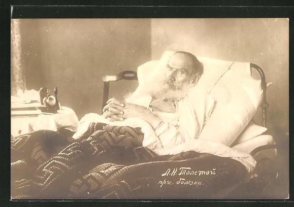 AK Leo Graf Tolstoi zu Bett