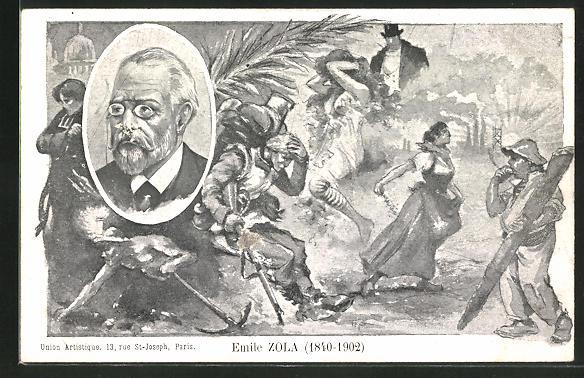 AK Emile Zola, 1840-1902, Portrait des Autors