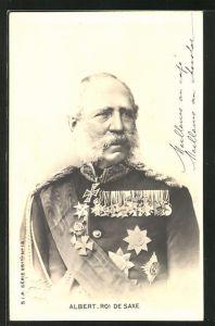 AK König Albert von Sachsen in Uniform mit Orden