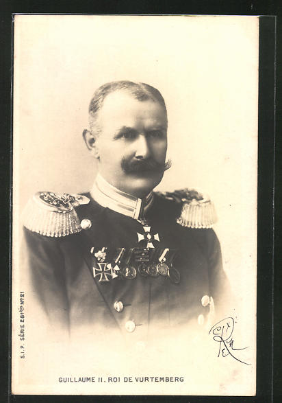 AK König Wilhelm II. von Württemberg in Uniform mit Orden