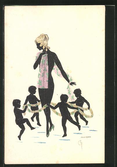 Künstler-AK Manni Grosze: Kinder tanzen einen Reigen um eine schöne Nackte