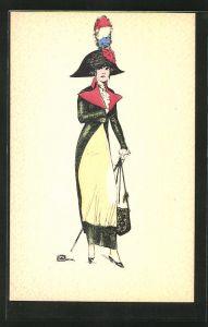 Künstler-AK sign. Leonnec: Elegante Dame mit Hut imitiert Napoleon
