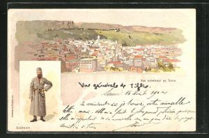 Lithographie Tiflis, Georgischer Soldat in Uniform, Totalansicht der Stadt