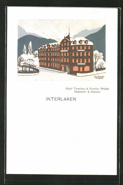 Künstler-AK Interlaken, Hotel Terminus & Pension Bristol