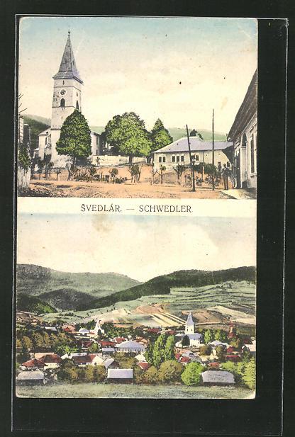 AK Svedlár / Schwedler, Strassenpartie bei der Kirche, Ortsansicht