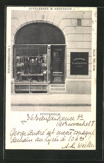 AK Stockholm, Juvelerare M. Anderson, Biblioteksgatan 1