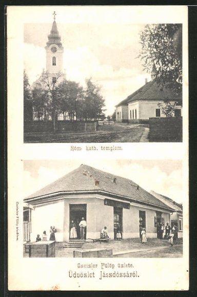 AK Jászdózsa, Rom. kath templom, Gzeizler Fülöp üzlete