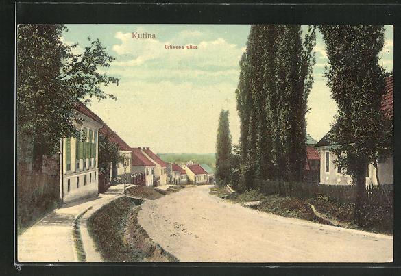 AK Kutina, Crkvena ulica, Strassenpartie im Ort