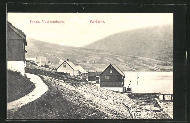 AK Fosaa / Färöer, Vestmanhavn, Ortspartie am Wasser