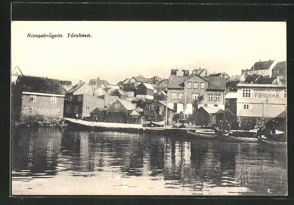 AK Tórshavn / Färöer, Kongabrugvin, Partie am Hafen