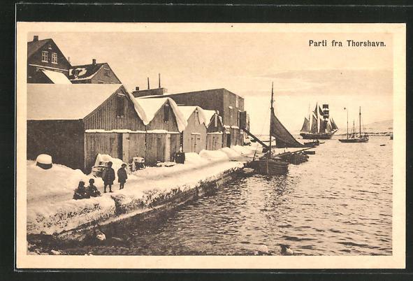 AK Tórshavn / Färöer, Hafenpartie im Winter
