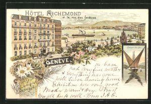 Lithographie Geneve, Hotel Richemond au Bord du Lac