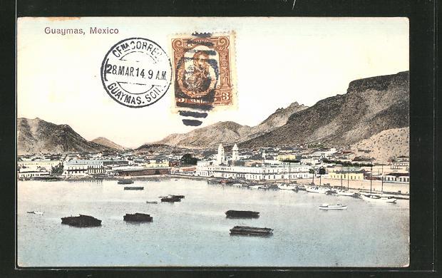 AK Guaymas, Stadtansicht vom Wasser her