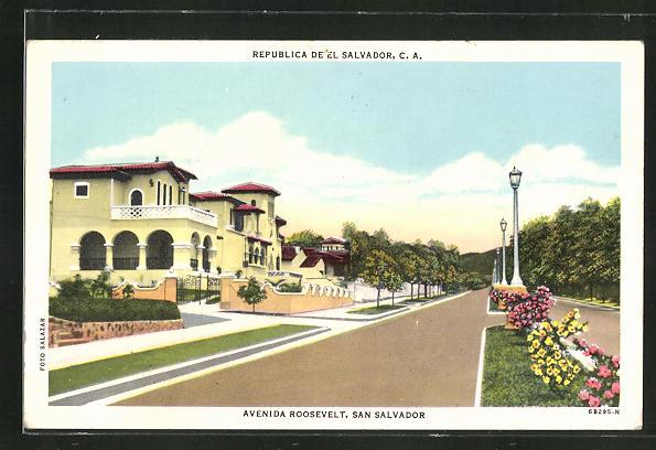 AK San Salvador, Avenida Roosevelt, Strassenpartie