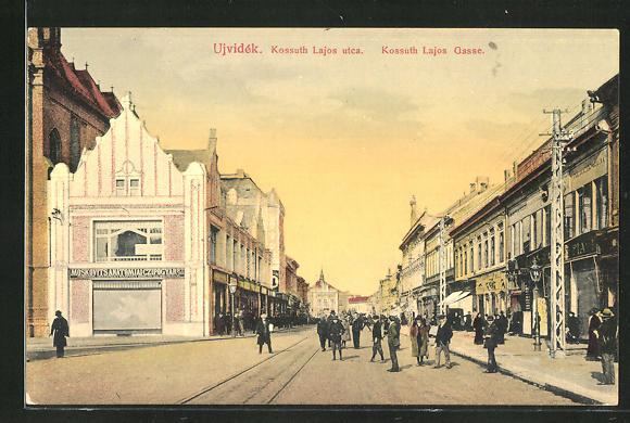AK Ujvidék, Kossuth Lajos Gasse mit Geschäften