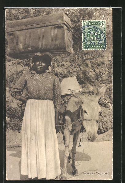 AK Jamaika, Frau mit beladenem Esel, Jamaican Transport