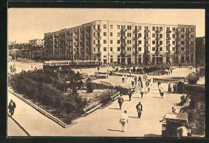 AK Bakou, Les nouveaux quartiers, Strassenbahn