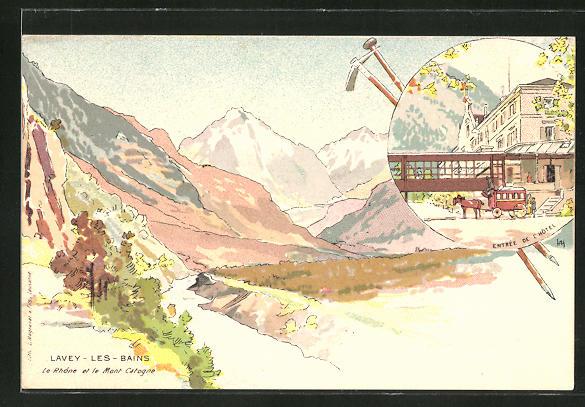 Künstler-AK Lavey les Bains, Le Rhone et le Mont Catogne