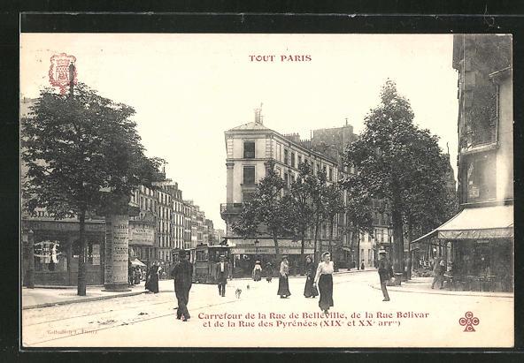 AK Paris, Carrefour de la Rue Belleville, de la Rue Bolivar et de la Rue des Pyrenees