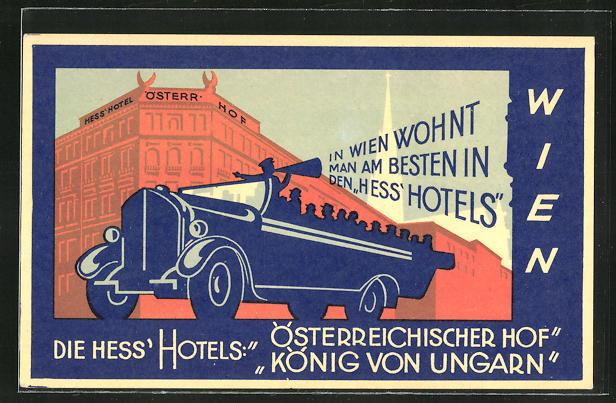 AK Wien, Hess' Hotel Österreichischer Hof, Fleischmarkt 10