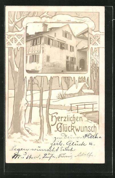 Passepartout-AK Zürich, Gebäudeansicht, Landschaft am Dorfrand im Winter