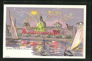 Lithographie Geneve, Fete du Noit au Kursaal