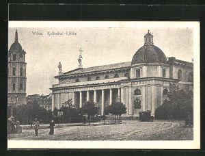 AK Wilna, Strassenpartie an der Kathedral-Kirche