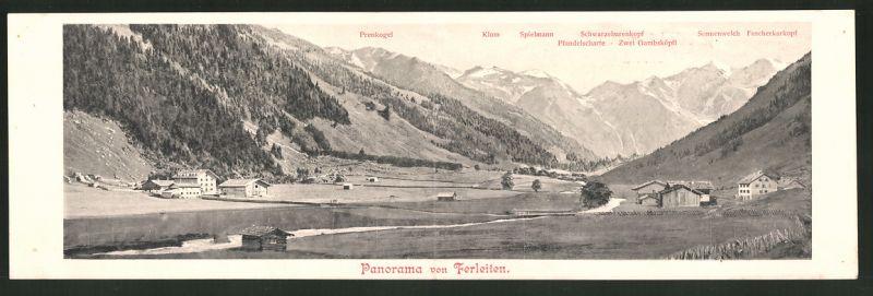 Klapp-AK Ferleiten, Tauern-Gasthof, Panoramablick auf den Ort