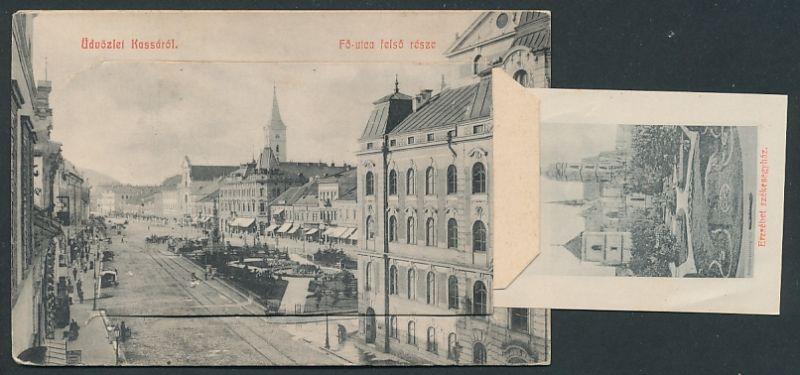 Leporello-AK Kassa, Fö-utca felsö része, Kossuth Lajos utca, Honvéd szobor