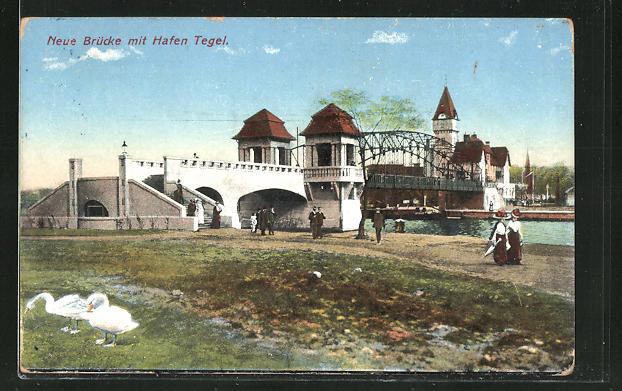 AK Berlin-Tegel, Neue Brücke mit Hafen Tegel