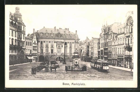 AK Bonn, Marktplatz mit Strassenbahn