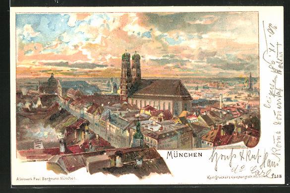 Lithographie München, Teilansicht mit Blick auf die Frauenkirche aus der Vogelschau