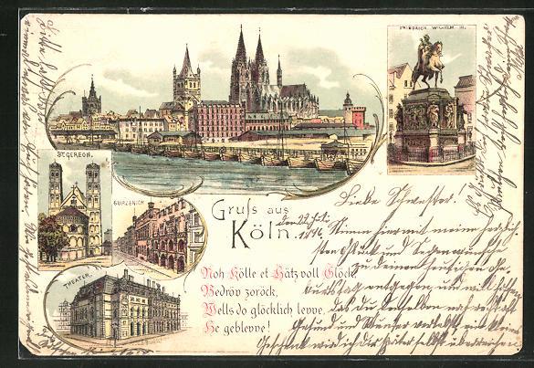 Lithographie Köln, Friedrich Wilhlem III Statue, St. Greon, Gürzenich