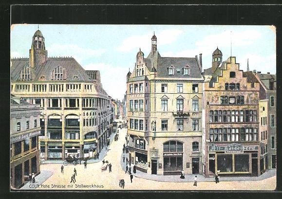 AK Köln, Hohe Strasse mit Stollwerckhaus