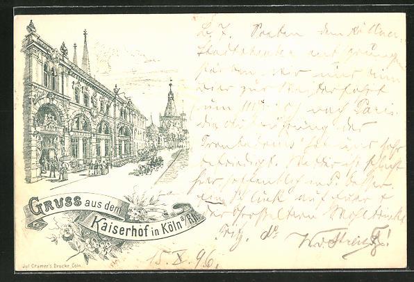 Lithographie Köln, Strassenpartie am Gasthaus Kaiserhof