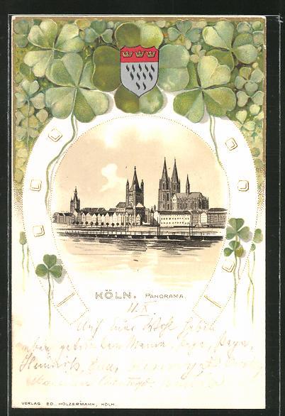 Passepartout-Lithographie Köln, Blick über den Rhein zum Dom, Wappen und Kleeblätter